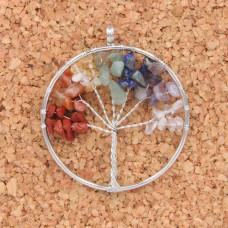 BJK076-01 Кулон Дерево d.5см, самоцветы