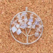 BJK076-09 Кулон Дерево d.5см, лунный камень