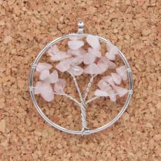 BJK076-11 Кулон Дерево d.5см, розовый кварц