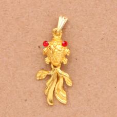 BJK077 Кулон Золотая рыбка 3,3см, цвет золот.
