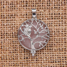 BJK083-05 Кулон Дерево d.2,7см с камнем Розовый кварц оптом
