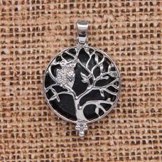 BJK083-07 Кулон Дерево d.2,7см с камнем Синий авантюрин оптом