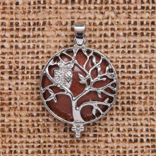 BJK083-09 Кулон Дерево d.2,7см с камнем Коричневый авантюрин оптом