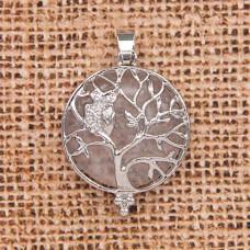 BJK083-10 Кулон Дерево d.2,7см с камнем Горный хрусталь оптом