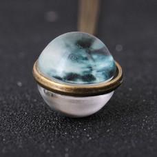 BJK095 Сферический кулон с цепочкой Луна 2см, цвет бронз.