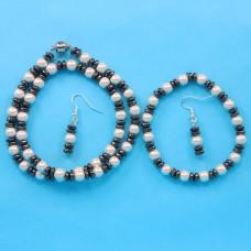 BJM003 Набор: магнитные бусы 45см, браслет, серьги из магнитного жемчуга и гематита
