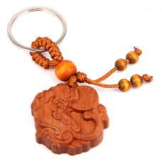 BK032-22 Брелок Лев Будды с монетой, красное дерево