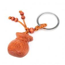 BK032-44 Брелок Мешок удачи, красное дерево