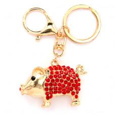 BK041 Брелок со стразами Свинка с хвостиком