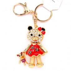 BK047 Брелок со стразами Мишка с игрушкой