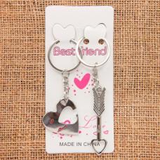 BK056 Парные брелки Сердце и стрела, металл, комплект 2 шт.