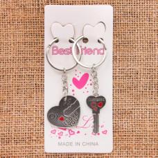 BK063 Парные брелки Сердце и ключ, металл, комплект 2 шт.