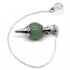BLK014 Большой биолокационный маятник из натурального камня Зелёный авантюрин 40х18мм