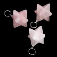 BLK019-10 Маятник для биолокации Меркаба, розовый кварц