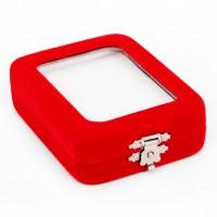BOX002 Коробка с застежкой 87х68х28см, пластик, бархат, красная