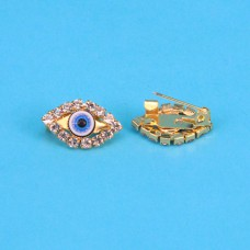 """BR001-G Брошь от сглаза со стразами """"Глаз Фатимы"""" (Назар) 1,9см, цвет золот."""