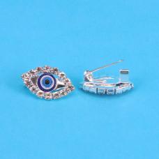 """BR001-S Брошь от сглаза со стразами """"Глаз Фатимы"""" (Назар) 1,8см, цвет серебр."""