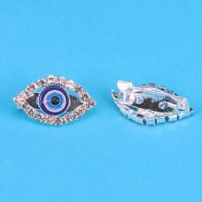 """BR002-S Брошь от сглаза со стразами """"Глаз Фатимы"""" (Назар) 2,3см, цвет серебр."""
