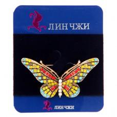 BR022 Брошь Бабочка 45х27мм, металл, стразы