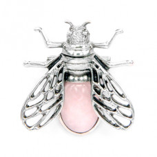 BR036-02 Брошь - кулон Муха 35х38мм с камнем Розовый кварц оптом