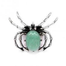 BR037-05 Брошь - кулон Паук 41х33мм с камнем Нефрит оптом