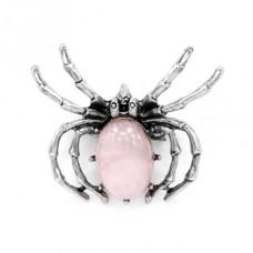 BR037-06 Брошь - кулон Паук 41х33мм с камнем Розовый кварц оптом