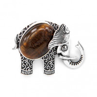 BR044-03 Брошь Слон 45х35мм с камнем Тигровый глаз