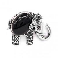 BR044-06 Брошь Слон 45х35мм с камнем Чёрный агат
