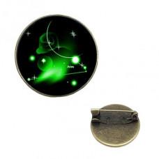 BR047-05 Значок d.2см Знаки Зодиака - Овен, цвет бронз.