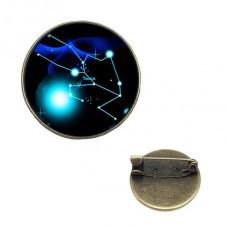 BR047-10 Значок d.2см Знаки Зодиака - Телец, цвет бронз.