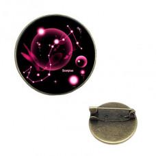 BR047-11 Значок d.2см Знаки Зодиака - Скорпион, цвет бронз.