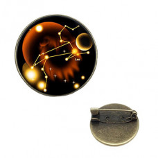BR047-12 Значок d.2см Знаки Зодиака - Лев, цвет бронз.