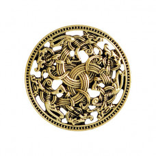 BR048 Брошь Щит викингов 3см, цвет бронз.