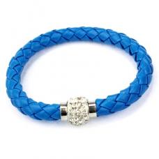 BS001B Кожаный браслет с магнитным замком со стразами синий