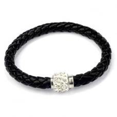 BS001Bk Кожаный браслет с магнитным замком со стразами чёрный