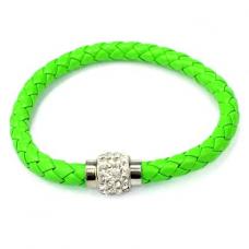 BS001G Кожаный браслет с магнитным замком со стразами зелёный