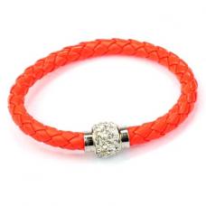 BS001O Кожаный браслет с магнитным замком со стразами оранжевый