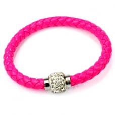 BS001P Кожаный браслет с магнитным замком со стразами розовый
