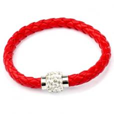 BS001R Кожаный браслет с магнитным замком со стразами красный