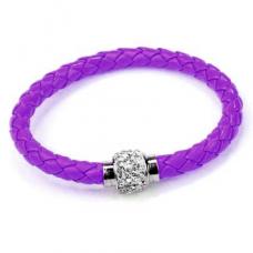 BS001V Кожаный браслет с магнитным замком со стразами фиолетовый
