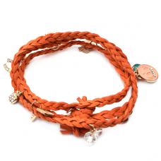 BS006O Браслет Благоприятные Символы, замша, цвет оранжевый