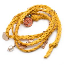 BS006Y Браслет Благоприятные Символы, замша, цвет жёлтый