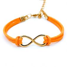 BS007O Браслет-оберег Бесконечность, замша, цвет оранжевый