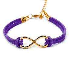 BS007Pu Браслет Бесконечность, замша, цвет фиолетовый