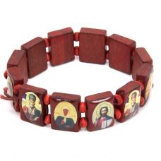 """BS012 Христианский браслет """"Лики Святых"""", красное дерево"""