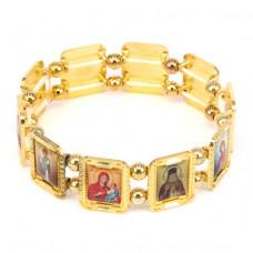 BS013-3 Христианский браслет Святые Заступники, металл, цвет золот.