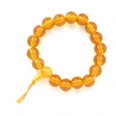 BS028-02 Буддистский браслет 10мм жёлтый, пластик
