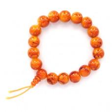 BS028-05 Буддистский браслет 10мм оранжевый, пластик