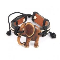 BS037-04 Браслет Слон, натуральная кожа