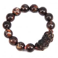 BS043-02 Браслет Пи Яо, Будда, пластик 10мм, коричневый